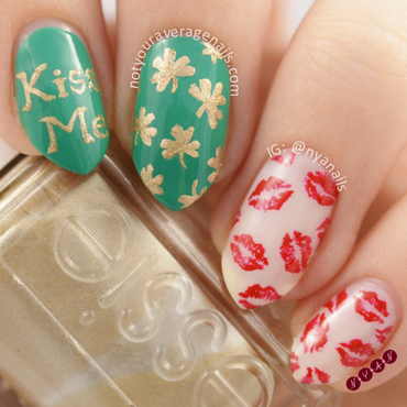 Kiss Me, I'm Irish nail art by Becca (nyanails)