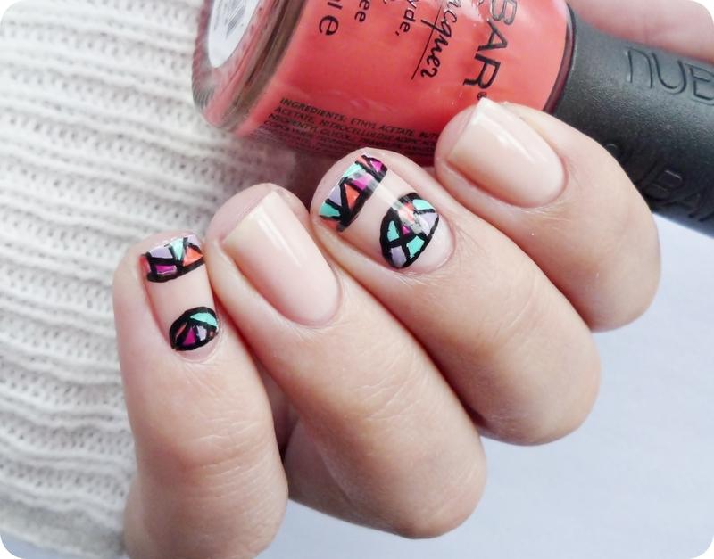 Almost naked nails nail art by Romana