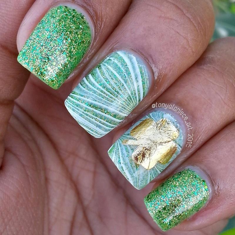 St. Patrick's Day Watermarble nail art by Tonya