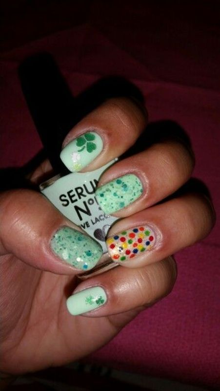 St. Patrick's Day Green Mani nail art by HighTech