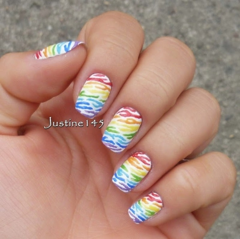 rainbow zebra nail art by Justine145