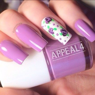 Purple & roses  nail art by Virginia