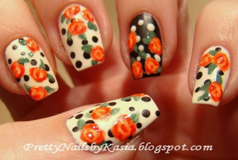 Dots & roses inspired by Nails by Miri nail art by Pretty Nails by Kasia