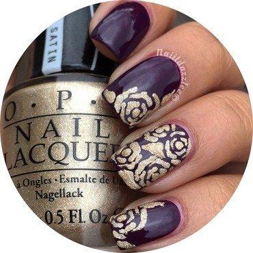 Gold embossed rose mani nail art by Dvisha P