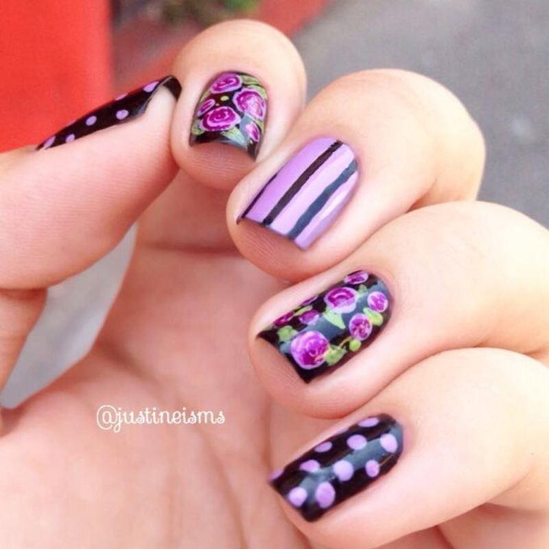 Close up) Gothic Purple and Black Floral nail art by ℐustine ...