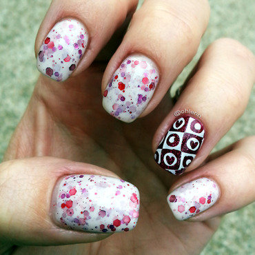 Hearts and glitter nail art by Lindsay
