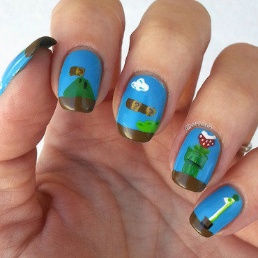 Super Mario Bros. nail art by Lindsay