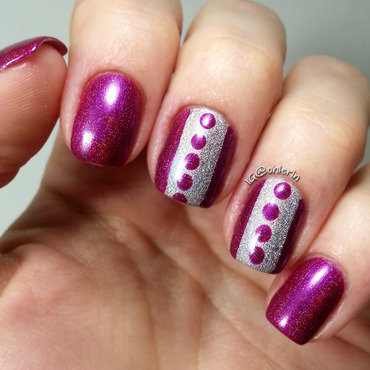 Dots and stripes nail art by Lindsay