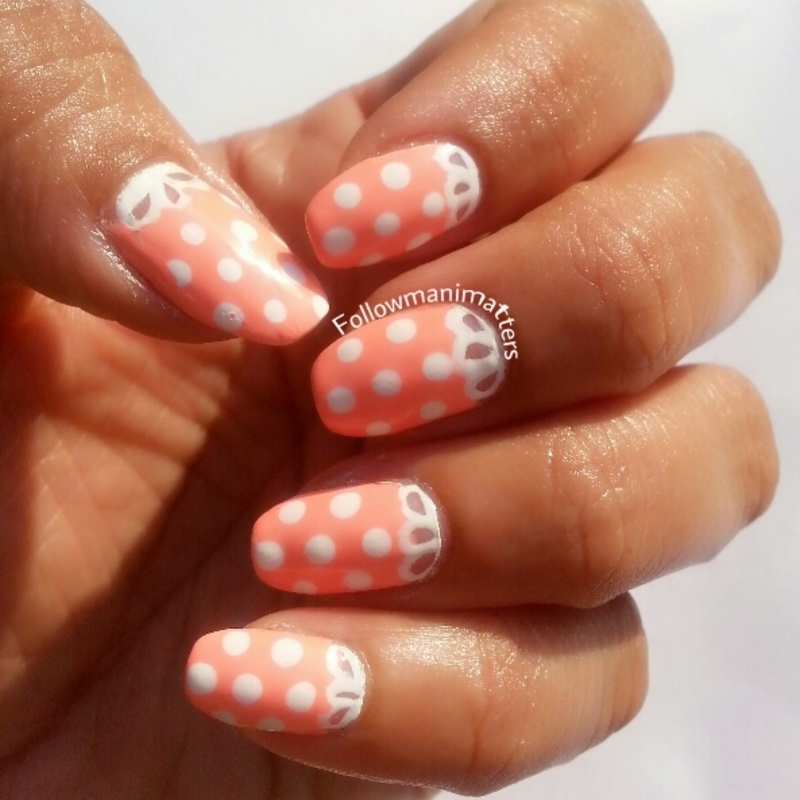 Cute Lace and polka dots nail art nail art by Manisha Manimatters