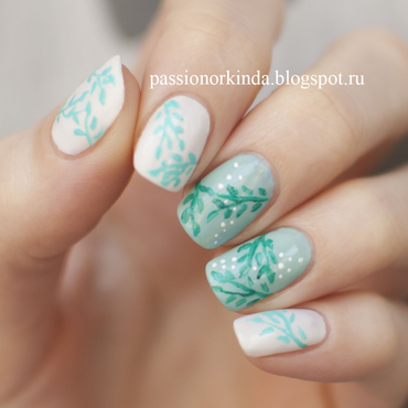 Mint nature nail art by Passionorkinda