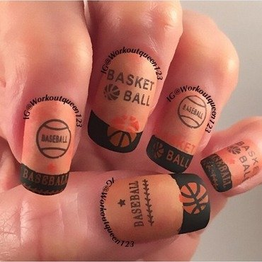 March madness is here like basketball start nail art by Workoutqueen123