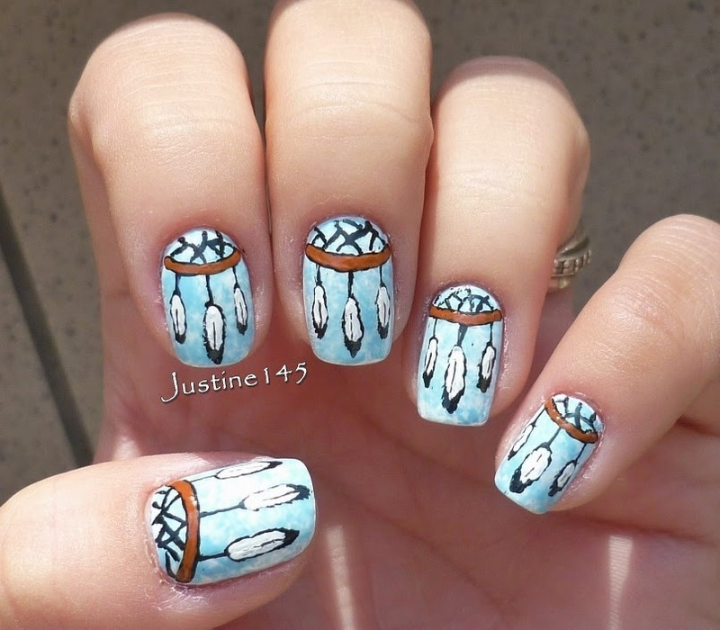dreamcatcher nail art by Justine145