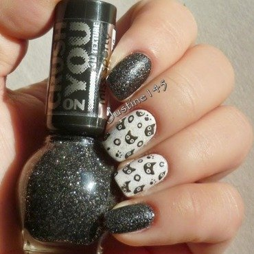 black cats nail art by Justine145