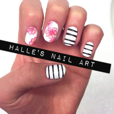 Floral and Fashion nail art by Halle Butler