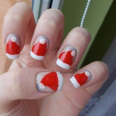 Santa hats :) nail art by JoanneD