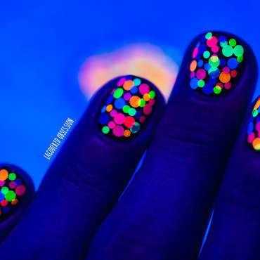 Colorful neon glitter mosaic (under UV light)  nail art by Lacquered Obsession