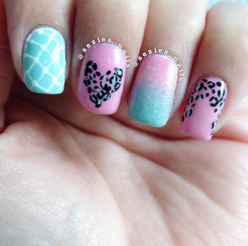 Pink and green nail art nail art by Sarah Bellwood