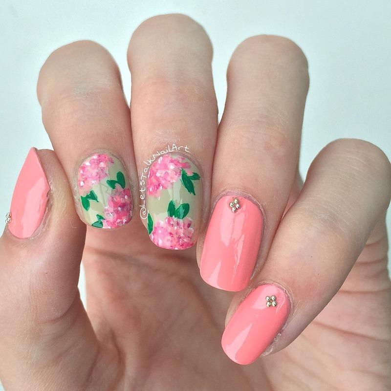 Spring flowers nail art by Lottie
