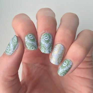 Peacock feathers nail art by Lottie