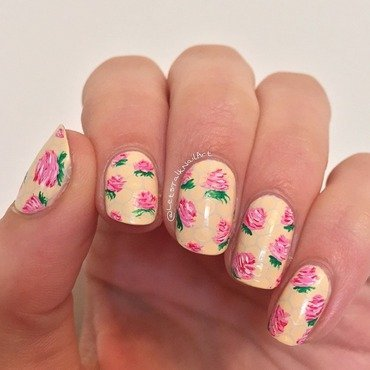 Roses on honeycomb  nail art by Lottie