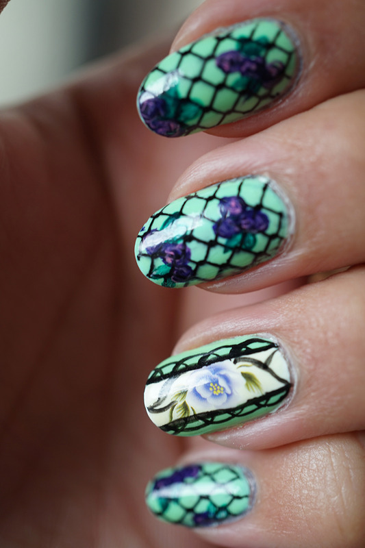 flowers in the garden nail art by Cathy Neves