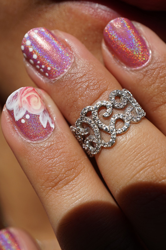 one stroke rose nail art by Cathy Neves