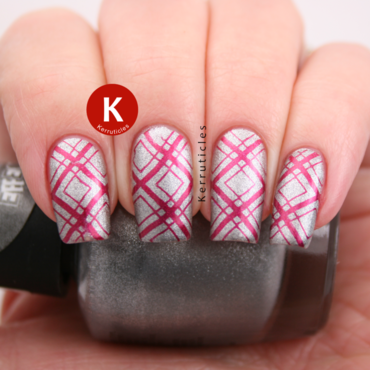 Silver and red diamond stamping nail art by Claire Kerr