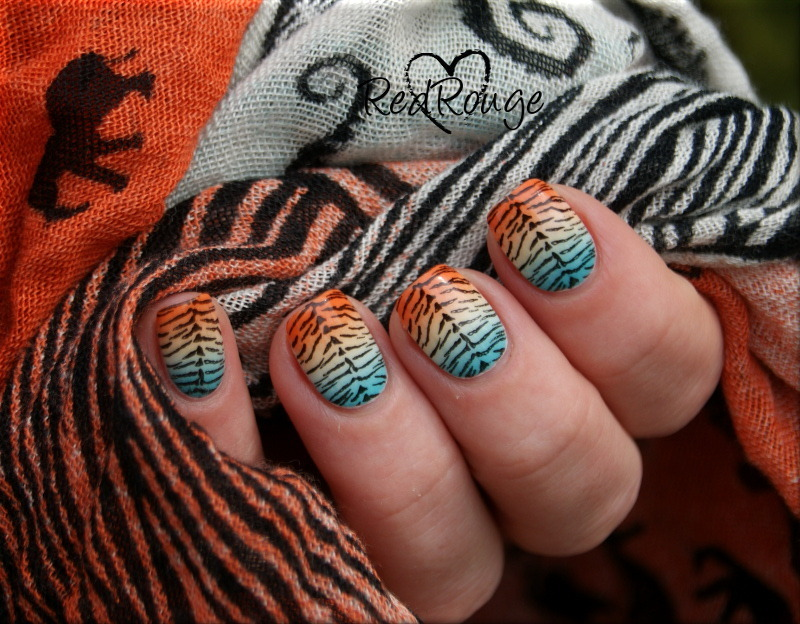 Inspired by a scarf nail art by RedRouge