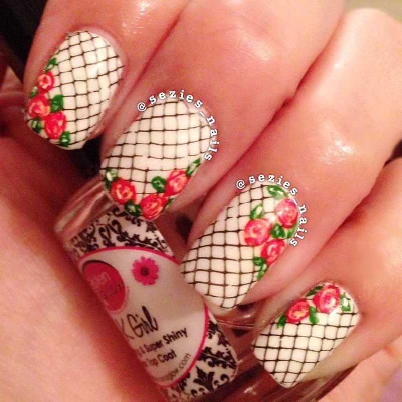 Fishnet rose nail art nail art by Sarah Bellwood