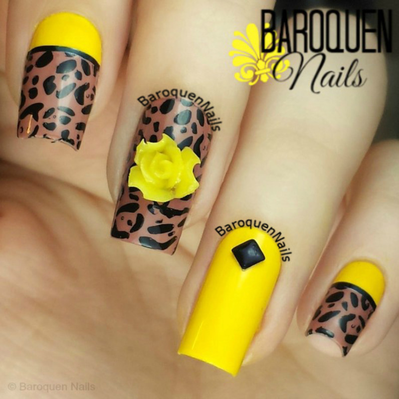 Yellow Leopard nail art by BaroquenNails