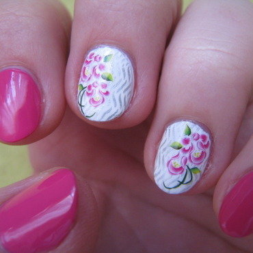 Pink flowers nail art by Nail Crazinesss