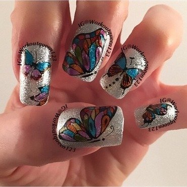 Butterflies and Spring nail art by Workoutqueen123