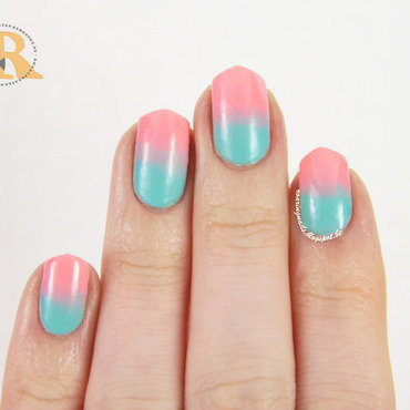 Mint/Pink Gradient for Spring nail art by Robin