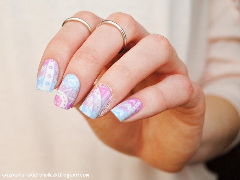 Pastel aztec nails nail art by Olaa