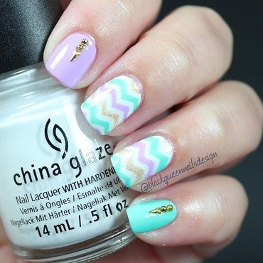 Chevron Spring  nail art by Blackqueennailsdesign