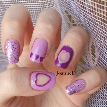 Purple Valentines nail art by JoanneD