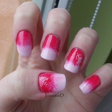 Valentines gradient nail art by JoanneD