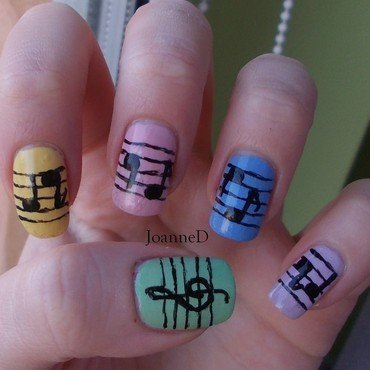Notes nail art by JoanneD