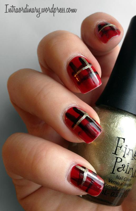 Plaid Nails nail art by Katie