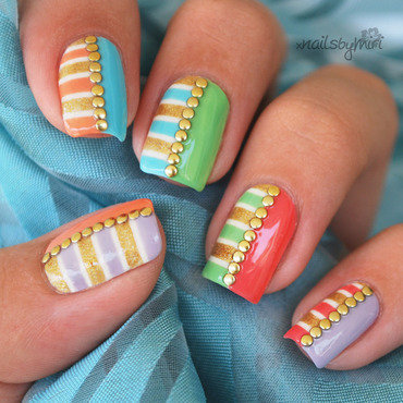 Colorful Stripes and studs Mani nail art by xNailsByMiri
