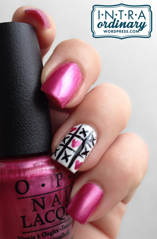 Valentine's Day Nails (Tic Tac Toe) nail art by Katie