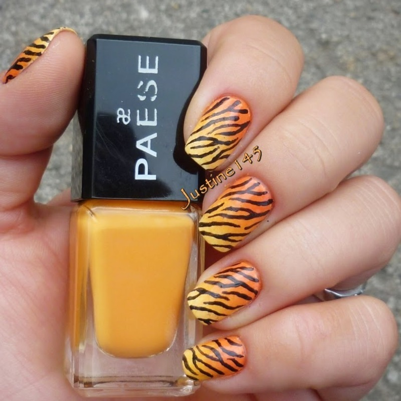 tiger nails nail art by Justine145