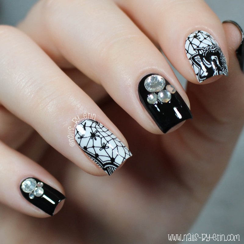 Black and White Lace Nail Wraps nail art by Erin