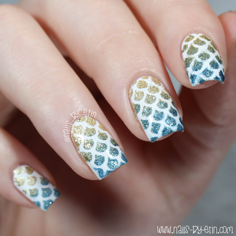 Textured Mermaid Scale Nails nail art by Erin