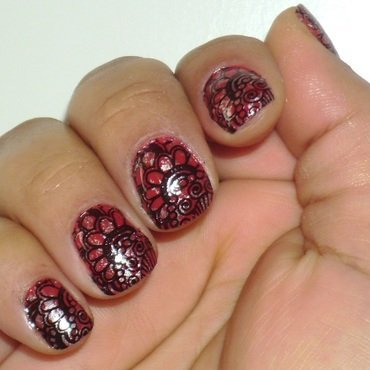 Stamping BPL-008 nail art by Leila  Duarte Costa