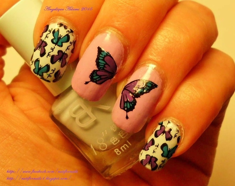 Spring Butterfly nail art by Angelique Adams