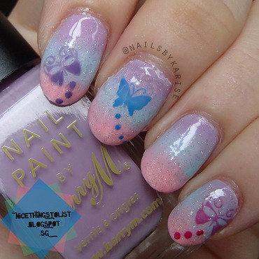 23glamnailschallenge butterflies gradient nail art thumb370f