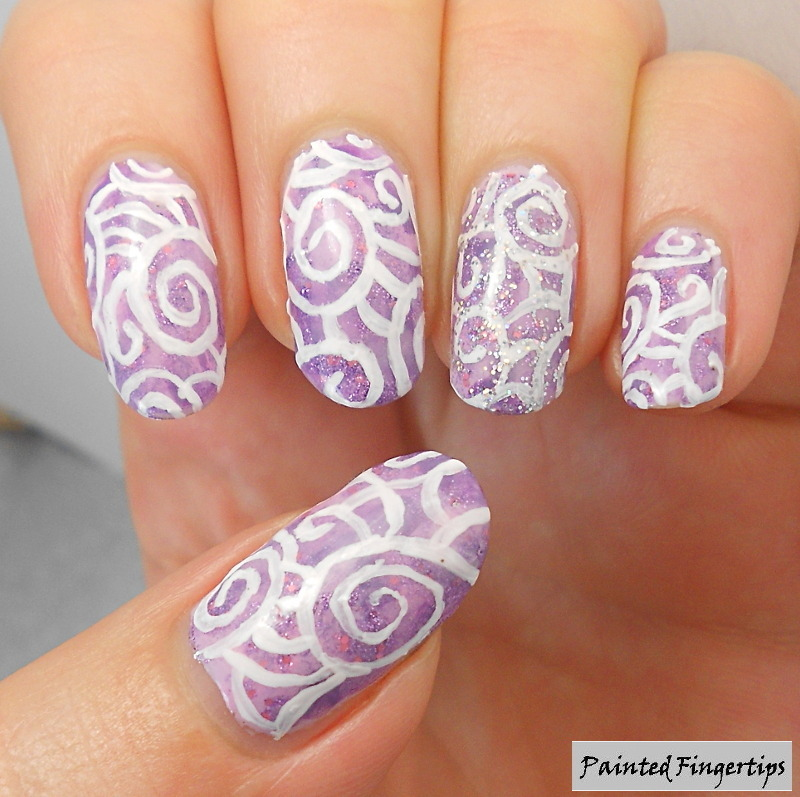 Swirls over a nimbus base nail art by Kerry_Fingertips