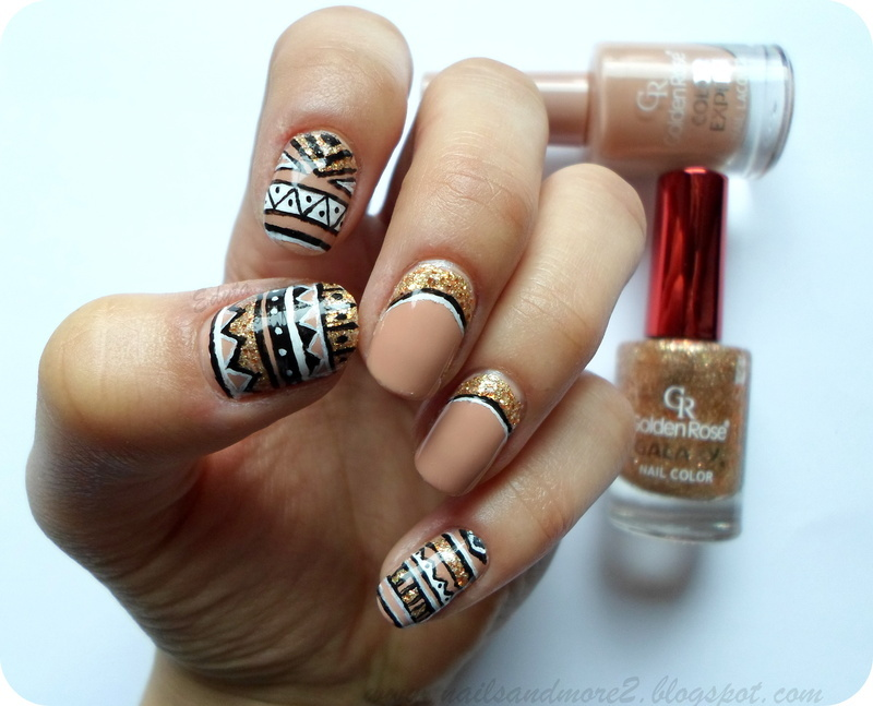 aztec with gold nail art by Edyta