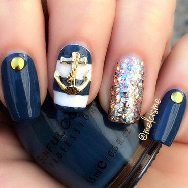 Nautical nail art by Melissa
